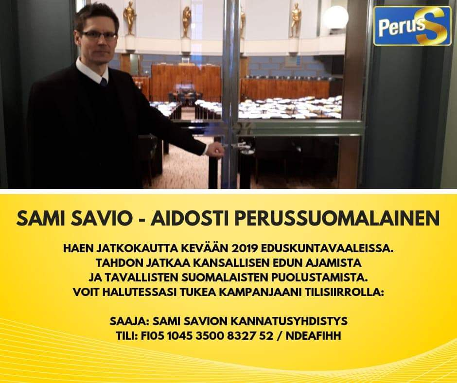 Sami Savio eduskuntaan 2019 - Ylöjärven Perussuomalaiset ry